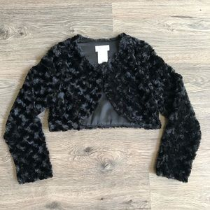 Black Faux Fur shrug.